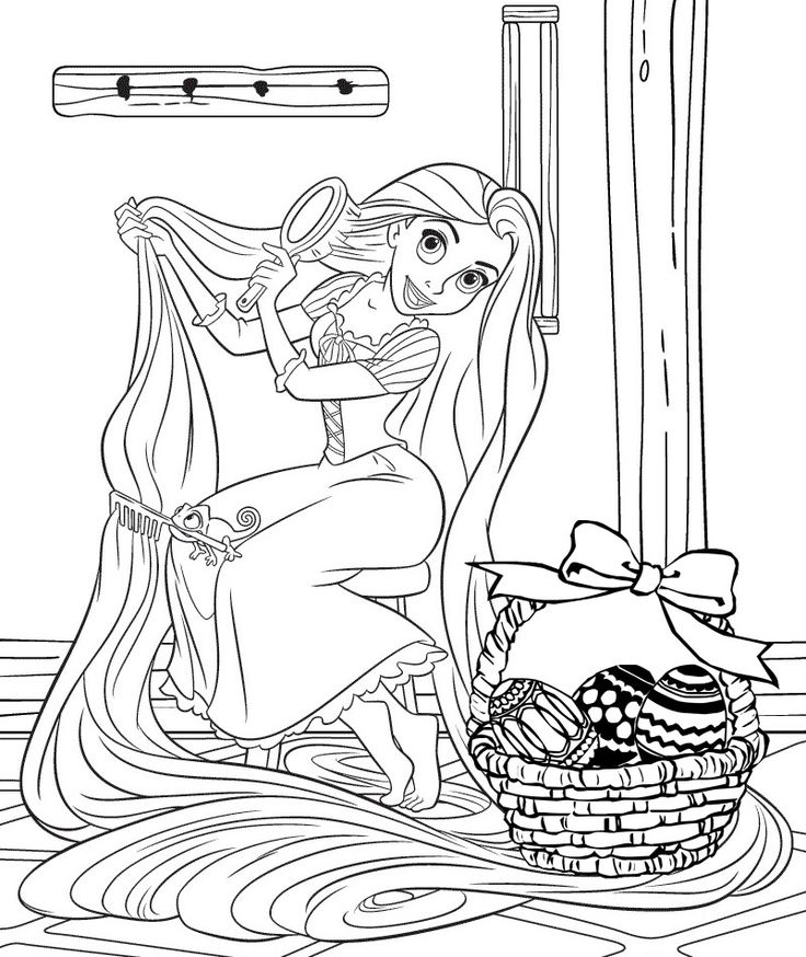 PRINCESS COLORING PAGES - Easter coloring page of Princess Rapunzel Disney