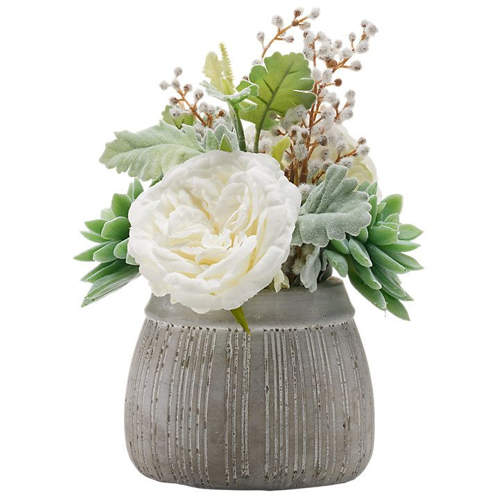 Buy Peony Artificial Succulent and Rose in Grey Pot Online at johnlewis.com
