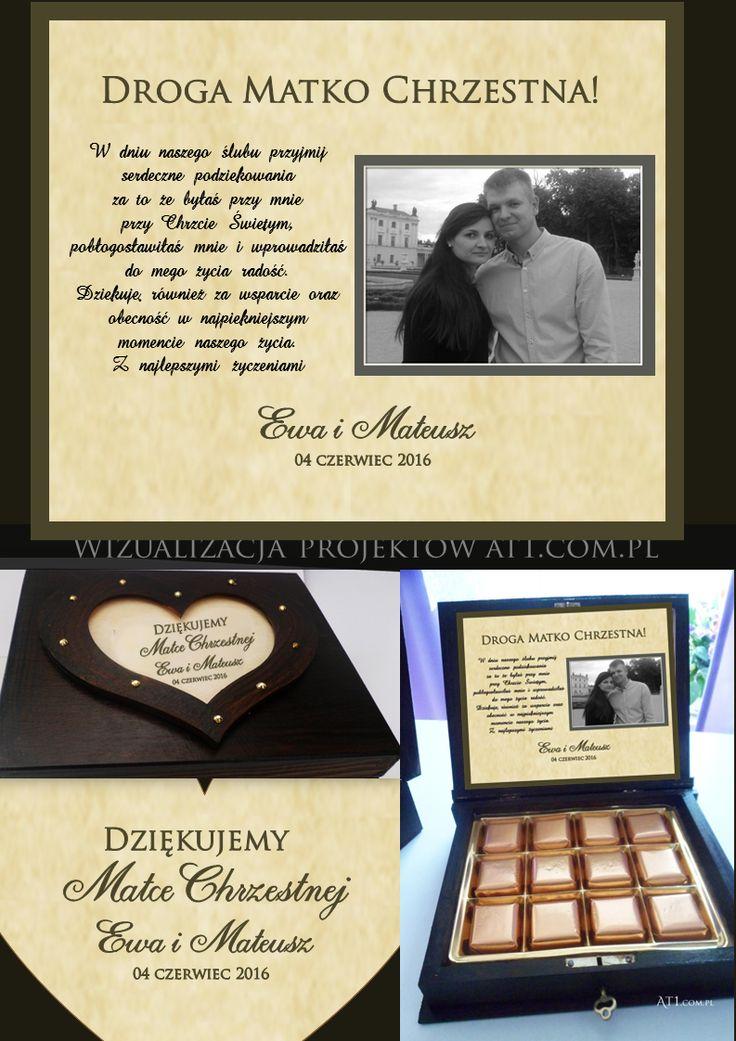 #podziękowaniaDlaMatkiChrzestnej #podziękowaniaDlaOjcówChrzestnych #podziękowaniaŚlub At1.com.pl #pudełkaZCzekoladkami