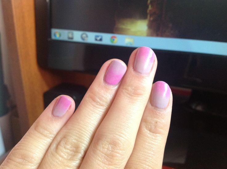 Pink degrade nails