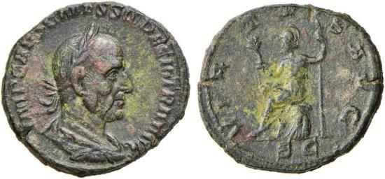 An extraordinary patina on a Trajan Decius sestertius.