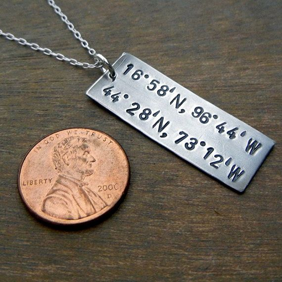 My long distance love necklace makes a great boyfriend gift for girlfriend gift with the longitude and latitude GPS coordinate for your two cities