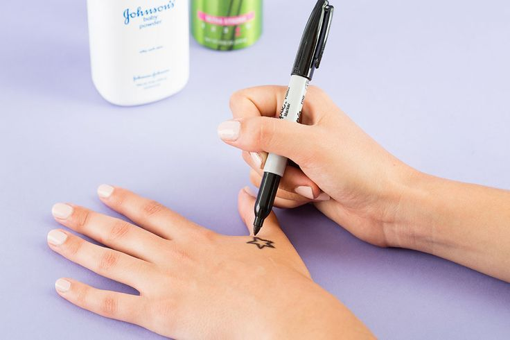 tattoos -                                                      Use a Sharpie, baby powder and hairspray to DIY a temporary tattoo.