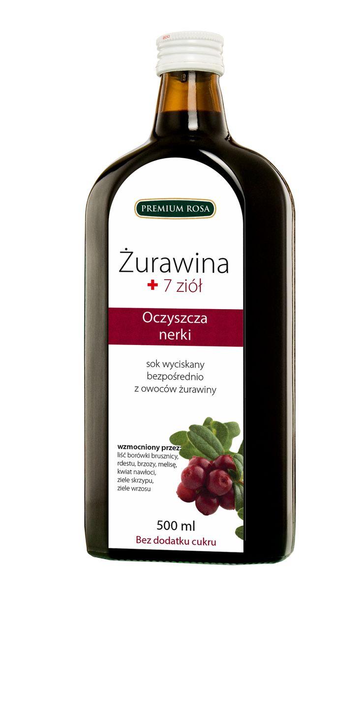 Wyciąg z Żurawiny + 7 ziół  Oczyszcza nerki / sok z owoców żurawin + liść borówki brusznicy , rdestu , brzozy , melisa , kwiat nawłoci , ziele skrzypu , ziele wrzosu