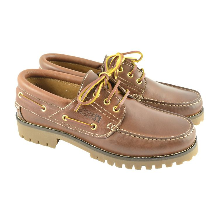 #Zapatos náuticos en piel marrón seahorse con suelas anchas de goma caramelo y cordones en piel de la marca española CORONEL TAPIOCCA.