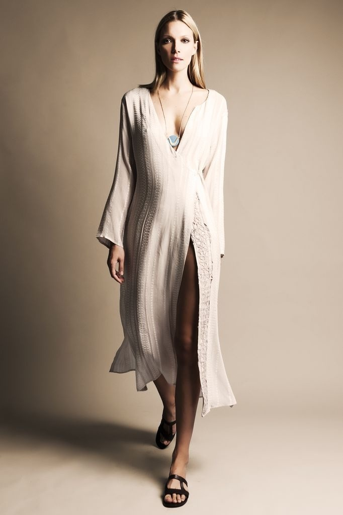 Long Kaftan with hand embroidered lace
