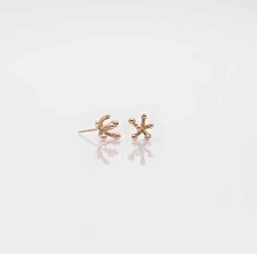 Designer Rose Gold Irish Stud Earrings. Nebula