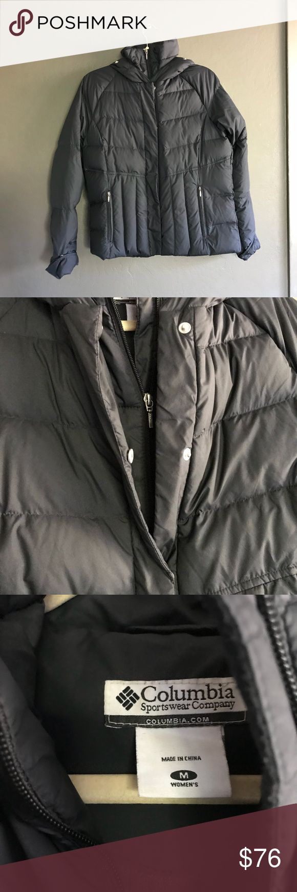 Columbia Puff Hooded Winter Jacket Thick and soft down jacket with zipper and button closure front and zipped pockets. For when you want to be warm and dry in the elements.  There used to be a fur trim that could be attached to the hood, but there isn't now.   Excellent condition. Columbia Jackets & Coats Puffers