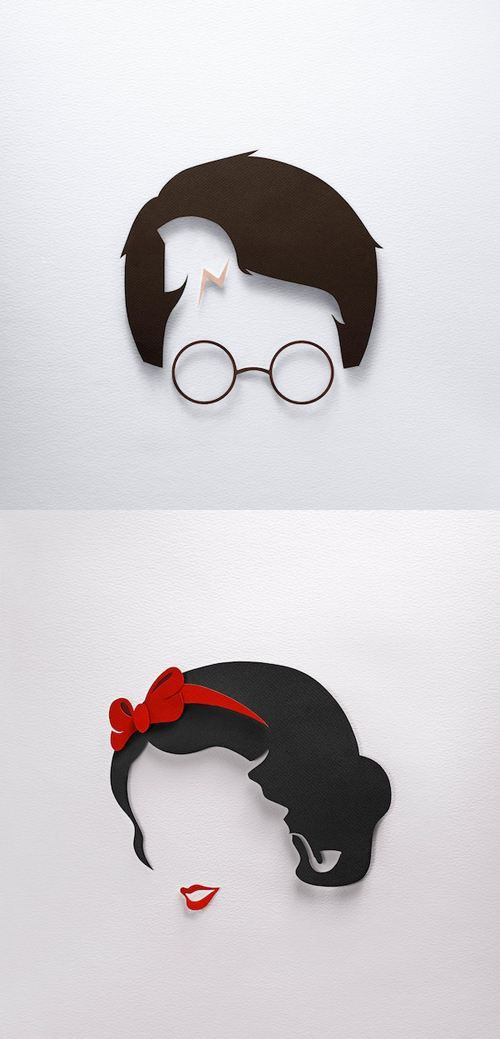 Paper minimalism. Super cute for girls room or playroom (fav story book characters)
