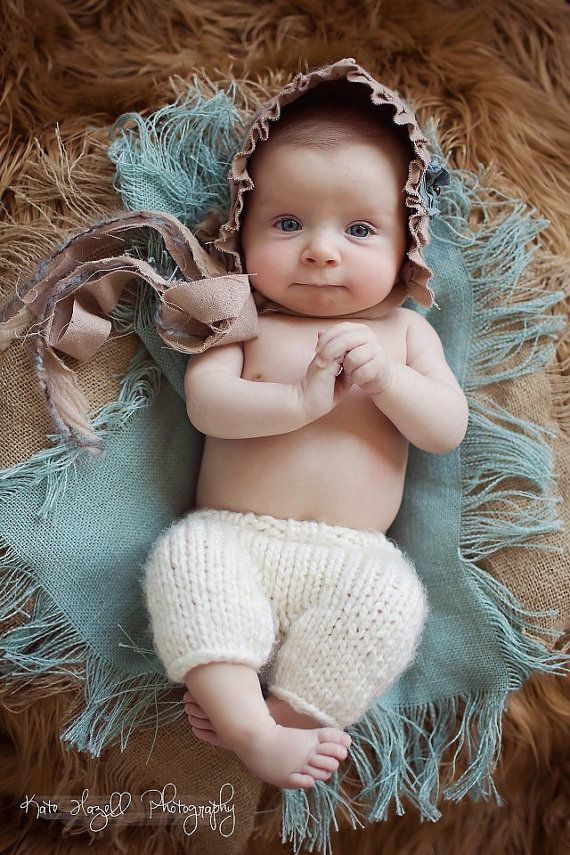 Knitting For Newborn Photography : Newborn photo prop knit pants off white