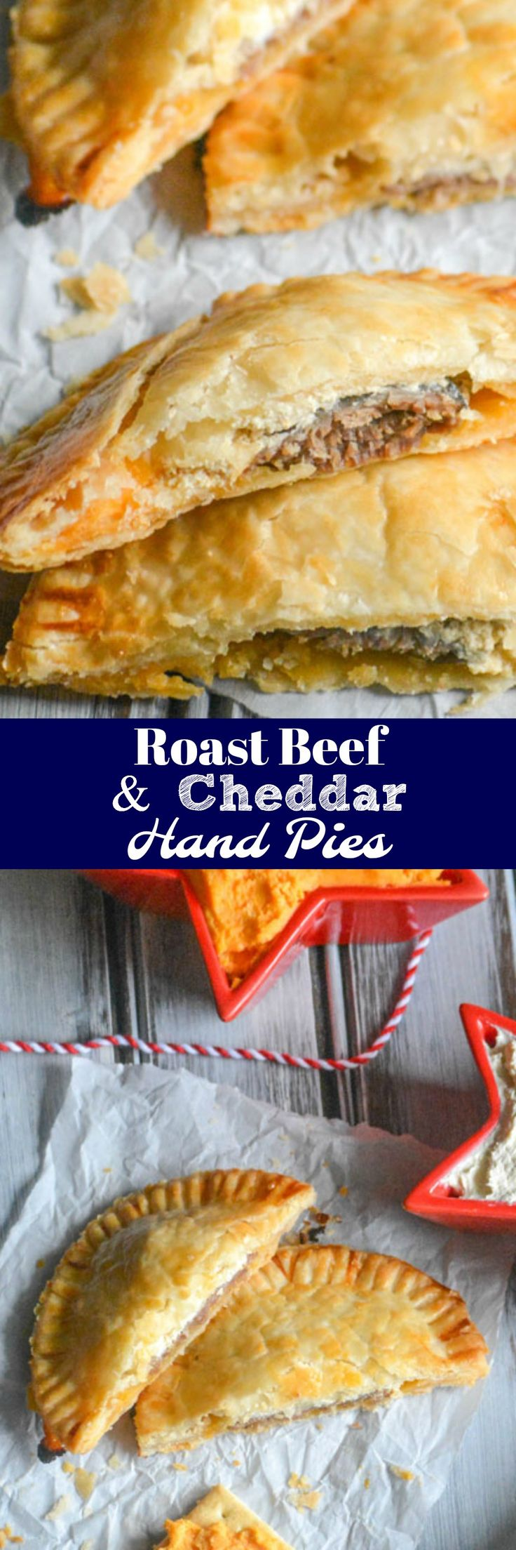 Buttery flaky hand pies are stuffed with savory roast beef, cheddar cheese, & a horseradish Dijon cream cheese spread for a convenient, handheld appetizer. These Stuffed Roast Beef & Cheddar Hand Pies are the perfect finger food for this year's Holiday season. #InspireWithCheese #ad
