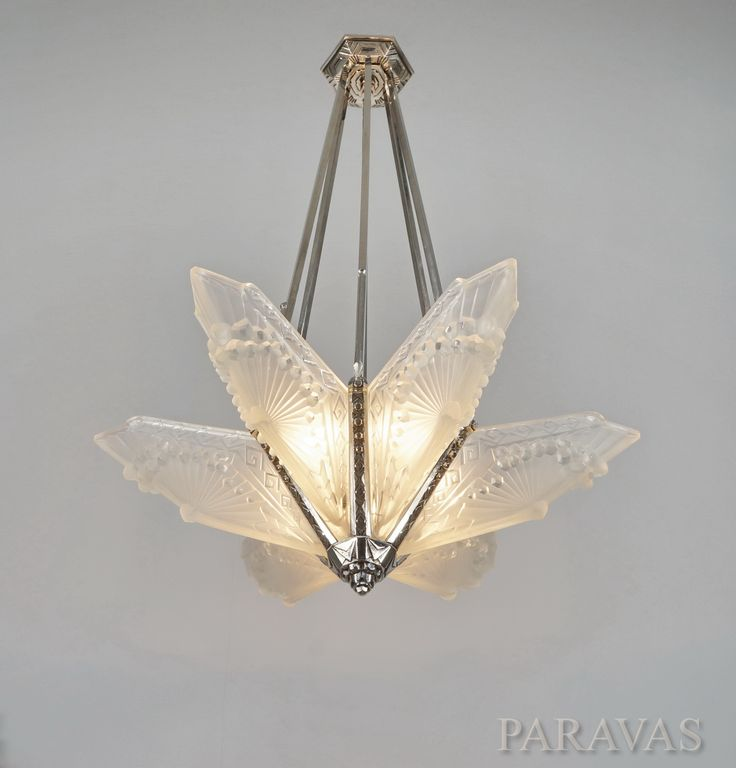 Ebay paravas french art deco chandelier by maynadier schneider