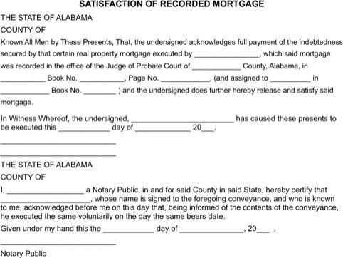 Alabama Satisfaction of Mortgage Form