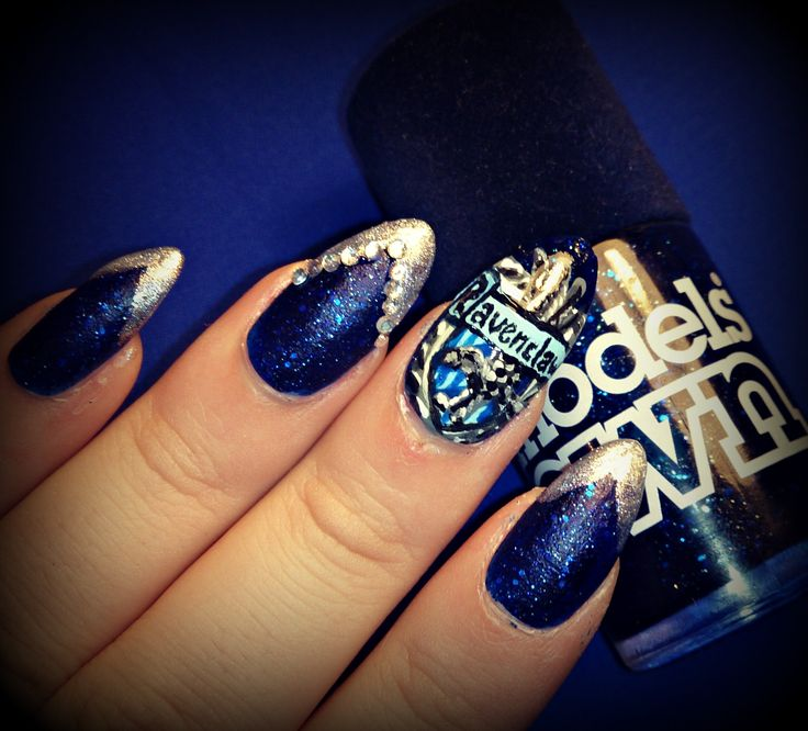 Dahlia Nails Ravenclaw Nail Art: Harry Potter Ravenclaw Nail Art. Tutorial At Http://youtu
