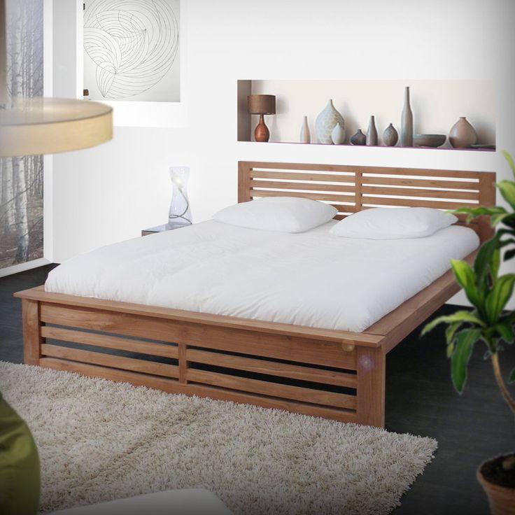 Teak Wood Bed With Slatted headboard