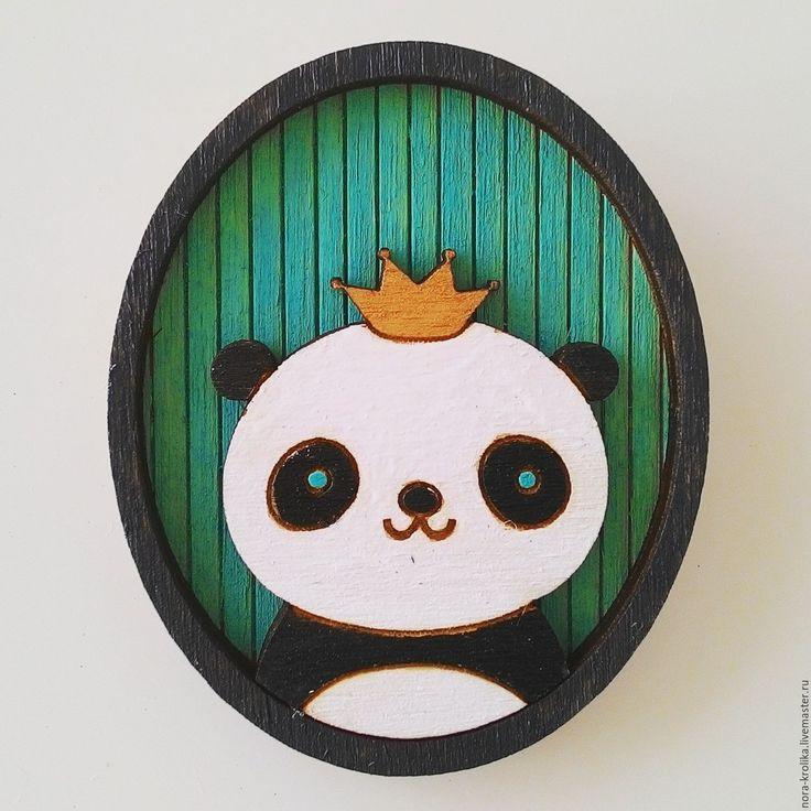 Wooden brooch | Купить Деревянная брошь значок Панда - бирюзовый, дерево, деревянный, брошь, значок из дерева, значок