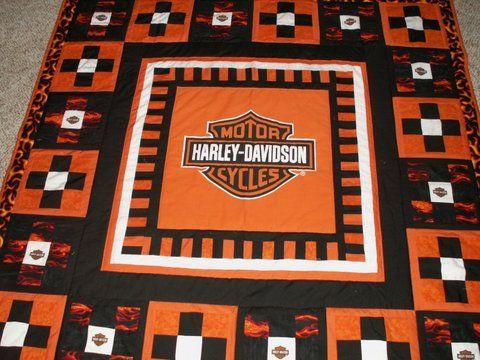 Harley Davidson Center, Piano Key Border, 9 Patch Blocks With A Harley Logo  Square