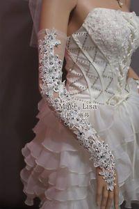 Fashion Sexy Beaded Lace Flower White Long Fingerless Wedding Bridal Gloves   eBay