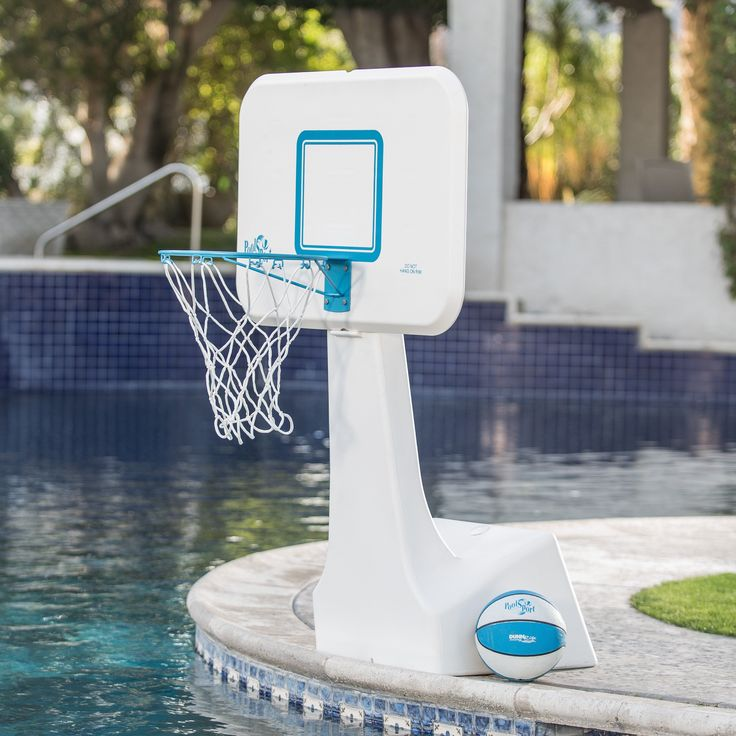 Dunn Rite PoolSport Portable Pool Basketball Hoop - The Dunn Rite PoolSport Portable Pool Basketball Hoop features a color-matched ball, 14-inch steel rim (36-inch height) and a solid 31W x 22H-inch...