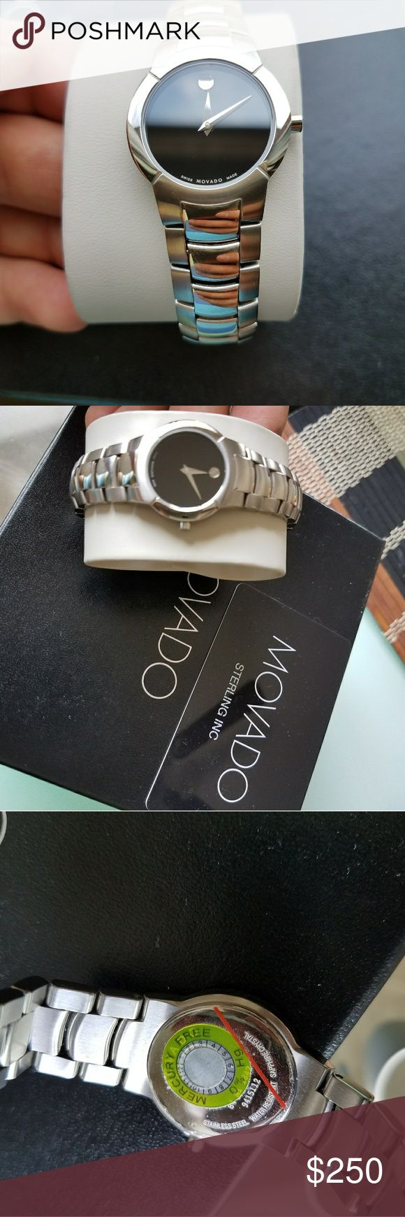 "Brand new Movado Museum Womens watch Never used. Authentic movado watch it has new battery. Still has plastic sticker on the back case and clasp. Comes with outter box and warranty card. Fits 7"" wrist. It may have some very light scratches on the band from moving around.   Payp vinted or ven mo $200, 220 on Mer. Movado Accessories Watches"