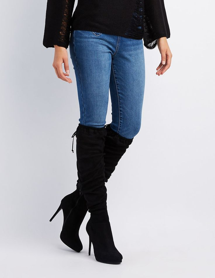 Ruched Lace-Up Back Over-The-Knee Boots | Charlotte Russe