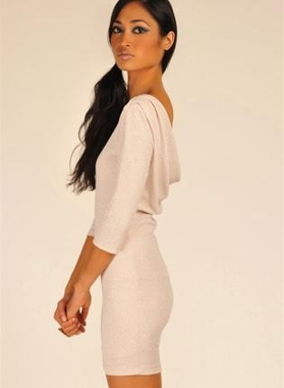 Off-white Mini Dress - Champagne Long Sleeve Sparkle Dress | UsTrendy