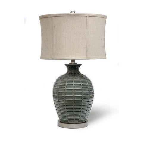 Earth de Fleur Homewares - Ceramic Steel Blue Table Lamp Home Decor