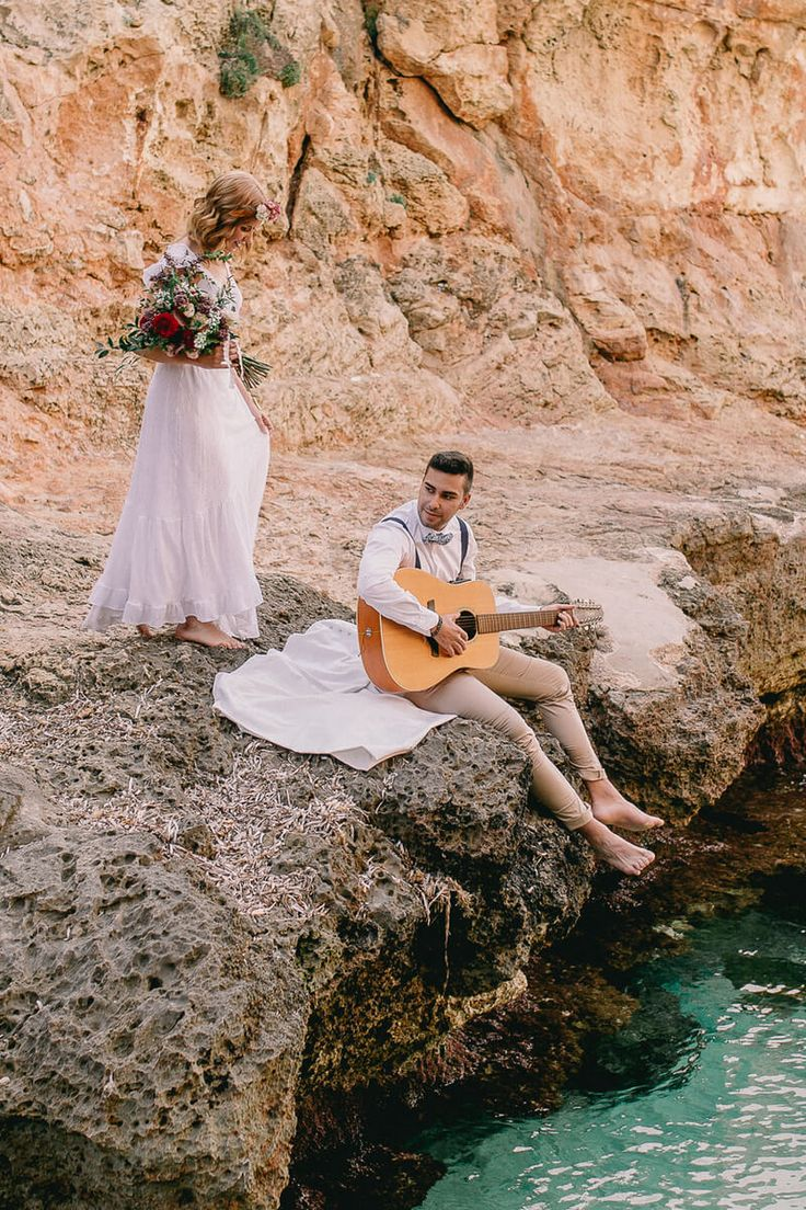 This Mallorca beach boho wedding styled shoot is making us crave some beach summer romance for an eloping couple!!