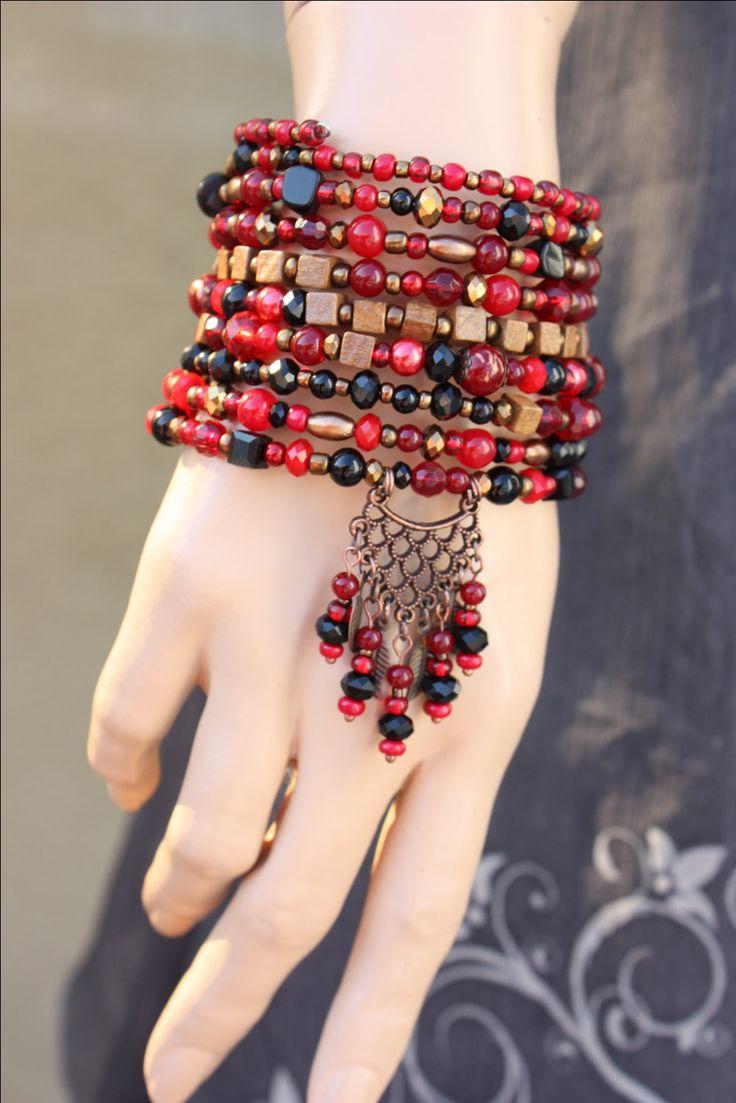 Burgundy-Red-Black Ten Wrap Gypsy Bracelet от monroejewelry