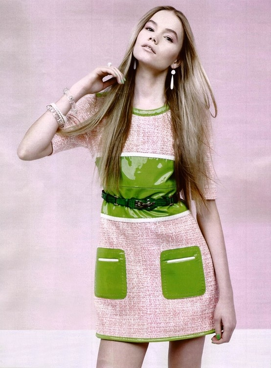 FAY for GRAZIA Italy - 2013. Women's Spring Summer 2013 collection - Coated tweed dress with green patent leather inserts