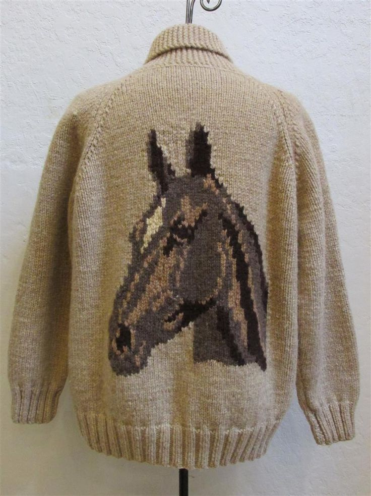 """1950's """"Knitting Noodle"""" Men's Handmade Beige Wool Cowichan """"Horse"""" Zip Up Cardigan With Raglan Sleeves - Size Large by MTvintageclothing on Etsy"""