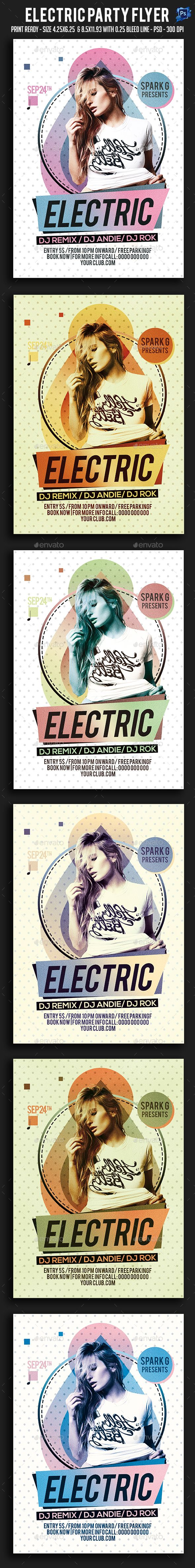 Electric Party Flyer  — PSD Template #dubstep #house dj • Download ➝ https://graphicriver.net/item/electric-party-flyer/18190628?ref=pxcr