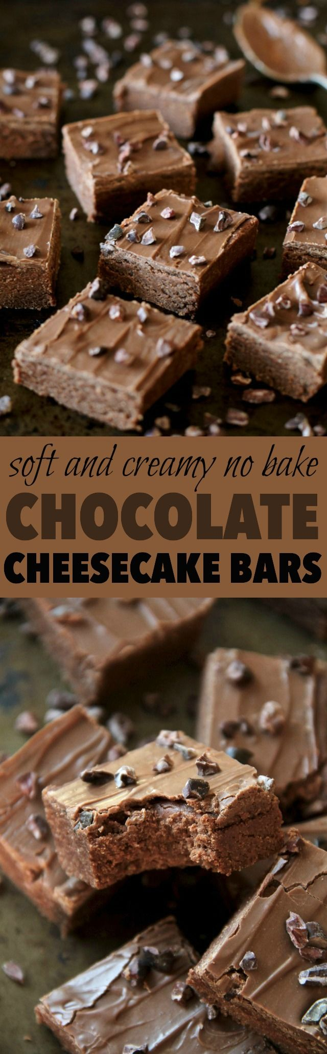 These soft and creamy No Bake Dark Chocolate Cheesecake Bars combine the subtle tanginess of cheesecake with the irresistible taste of dark chocolate. Easily made gluten-free or vegan depending on your dietary needs, they're a delicious lightened-up treat for any chocolate lover! || runnningwithspoons.com #chocolate #cheesecake #nobake