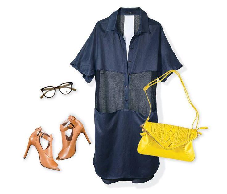 Usa la ilusión óptica a tu favor y lleva un vestido con malla transparente a la altura de la cintura (perfectamente forrada) para adelgazar el cuerpo. Úsalo con una bolsa grande y te hará ver petit.