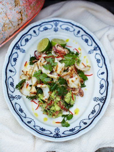 Chargrilled Squid   Seafood Recipes   Jamie Oliver Recipes