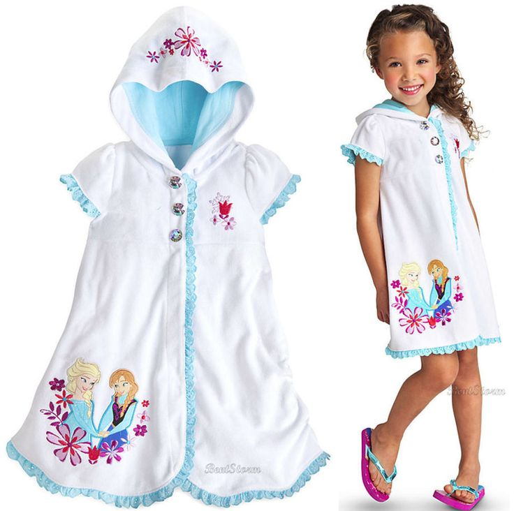 Disney Store Frozen Elsa and Anna Swimsuit Bathing Suit Hood Cover-Up Robe
