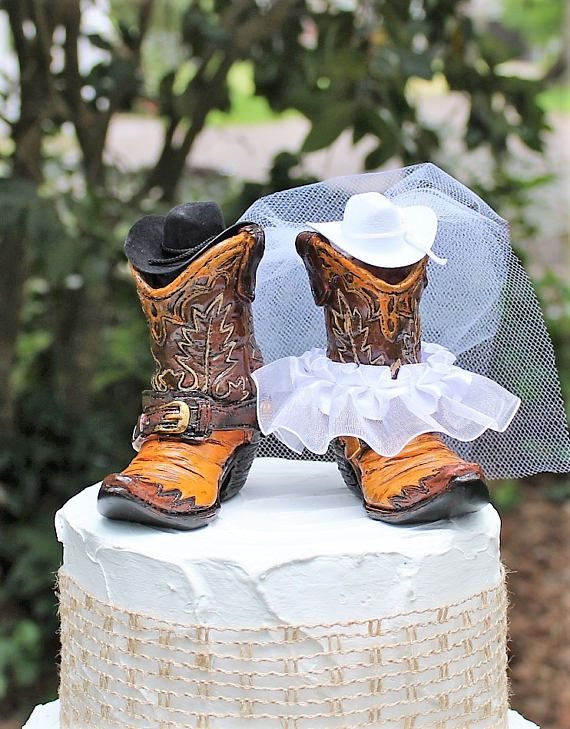 Boot Cake Topper Wedding Cake Topper-Western Cowboy