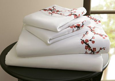 cherry blossom bedding collection | Cherry Blossoms Asian Sheet Set from Collections Etc.