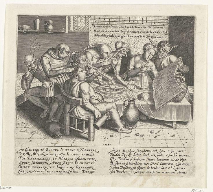 Anonymous   Bacchus zangers, Anonymous, 1580   Een groep van acht dwaze personen, de Bacchus zangers, zingt en maakt muziek rond een tafel in een herberg. Een vrouw blaast op een dierenpoot, een man blaast op een lange drinkglas. Rechts een nar, links hurkt een kotsende man. Op tafel een opengeslagen muziekboek met muzieknoten in de vorm van eten en drinken. Met onderschrift van 6 regels in het Frans en 6 regels in het Nederlands. Boven de eerste drie regels van het lied met notenbalk.
