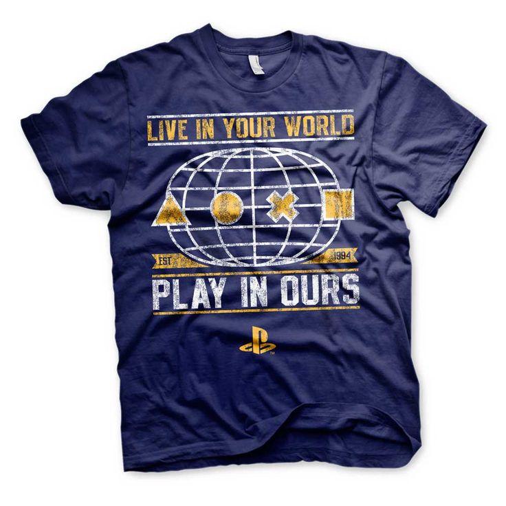 Hybris PlayStation - Your World unisex T-shirt marine blauw - Games me