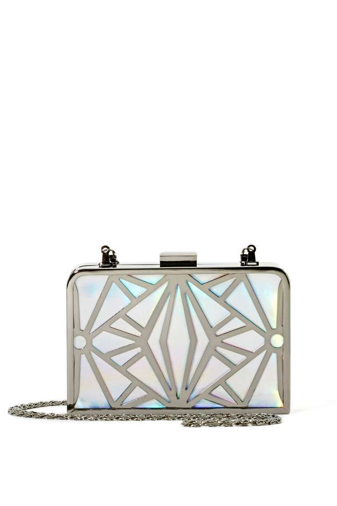 For a night out, you don't want a giant bag. This geometric clutch is the right amount of sparkle to keep things interesting and comes with a strap so you can easily carry it around town.
