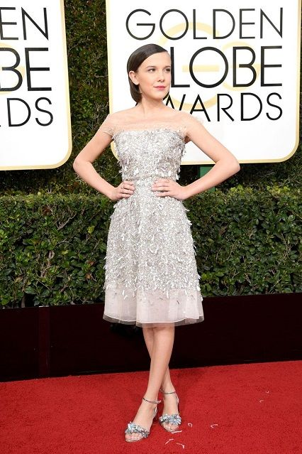 Millie Bobby Brown in Jenny Packham ai Golden Globe Awards 2017 http://www.theauburngirl.com/best-dressed-of-the-weeks-golden-globes/