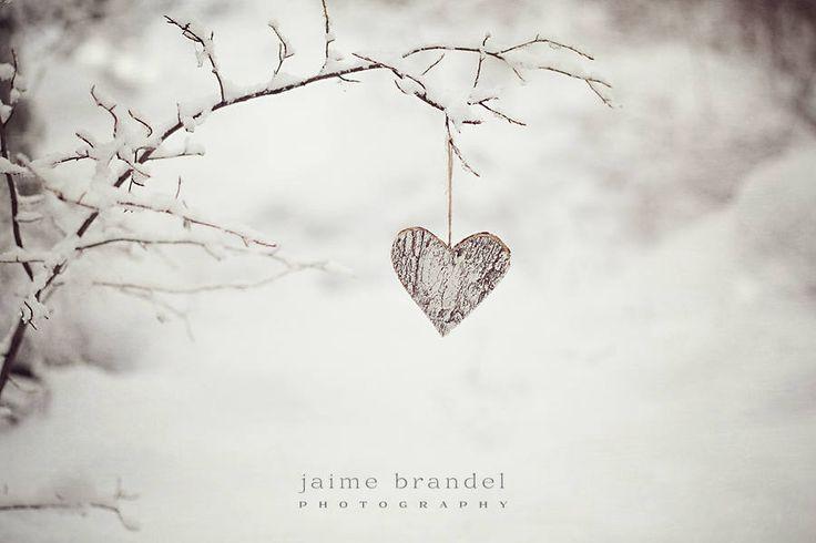 Photography print: snow, heart, snowy branch, heart on a branch, winter photography, fine art print by JaimeBrandelPhoto on Etsy