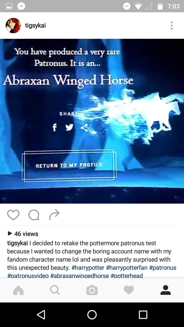 A screenshot from my instagram, it has all the info. Surprisingly you can different quiz answers if you retake the patronus quiz on pottermore. This is what I got when I remade my account to match my fandom character. This one definitely matches my spirit. Even more so than the orca. I wonder why this is a very rare result. Either way, Abraxan winged horses are awesome, same as all the other creatures!❤✌#potterhead#ravenclaw #hornedserpent #harrypotter #patronus #wingedhorse…