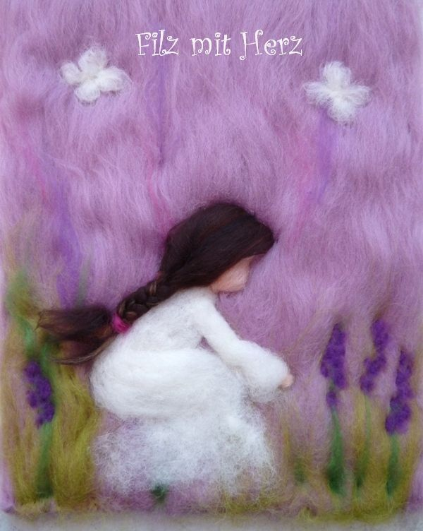 Wollbilder Frauen - handgefertigte Bilder aus Merinowolle