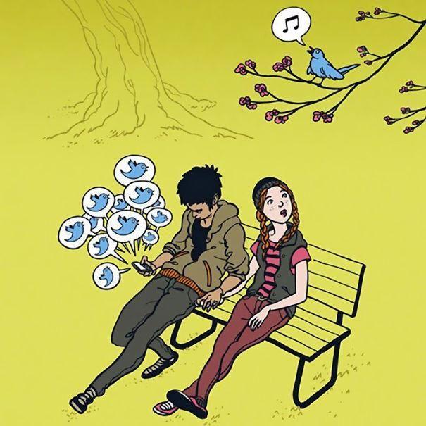 Ilustrações que satirizam nossa dependência de tecnologia