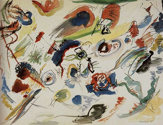 Première aquarelle abstraite, 1910, Wassily Kandinsky (abstraction)