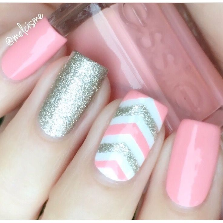 Lovely pink mani by @MelCisme using our Single Chevron Nail Vinyls found at snailvinyls.com