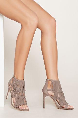 Sandale cu franjuri si toc inalt