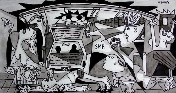 """GUERNICA DAS RUAS  a obra é do artista e ativista Alex Frechette  """"Picasso fez o quadro Guernica para retratar o bombardeio da cidade espanhola de Guernica em 1937. Fiz uma releitura do quadro de Picasso atualizando-a para o Rio de Janeiro dos dias de hoje onde uma mãe é arrastada por uma viatura, as remoções são constantes, o número de desabrigado é alarmante, Amarildo desaparece, a aldeia Maracanã corre risco e a bola de futebol é desculpa para negócios milionários e fonte de corrupção""""."""